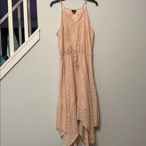 Pink textured asymmetrical skirt dress